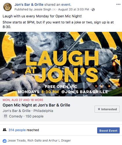 Restaurant Bars Facebook Event
