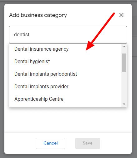 Dental business category